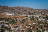A landscape view of a colonía in Nogales, Sonora. Many of the houses are not connected to the municipal water supply or sewage.(Photograph by Mariana Dale)